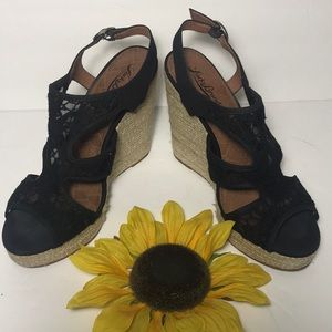 LUCKY BRAND Black Net Lace Slingback Wedge Sandals